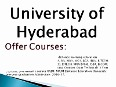 University of Hyderabad Distance Education in India