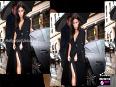 Kim kardashian pre-wedding style in paris stuns in sexy slit dress