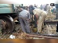 Goods train derails near Hubli station, no casualties reported.mpg