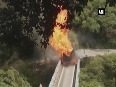 Video: Chain of explosions after LPG cylinder-laden truck catches fire