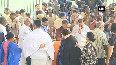 People gather at Kanteerava Stadium to pay tribute to former Union Minister Ambareesh
