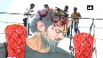 Fans pour milk on cut-out of Prabhas on release of Saaho in Hyderabad