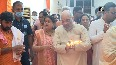 Gujarat Amit Shah offers prayers at temple in his native village