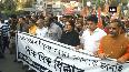 BJP protests against TMC in Kolkata over vehicles vandalism incident