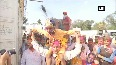 People celebrate Holi at Durgiana Temple in Amritsar