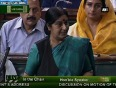 Sushma swaraj lists out faults of upa government in lok sabha