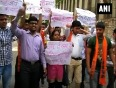 Abvp protests over repeated parole granted to sanjay dutt