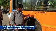 COVID-19 DTC buses being sanitised at Rajghat depot
