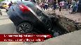 Watch: SUV car fell in sewer drain in Noida sector 39