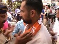 Watch Scuffle breaks out between BJP, Shiv Sena supporters