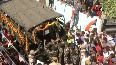 Watch Locals chant patriotic slogans as mortal remains of Rifleman Shubham Sharma arrive in Jammu.mp4