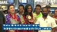 PV Sindhu receives grand welcome at Hyderabad airport