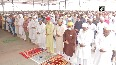 People offer 'namaz' at Hyderabad's Mecca Masjid