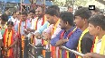 Pro-Kannada activists protest against lack of central funds for flood relief in Karnataka