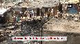 Fire breaks out in a slum area in Delhi