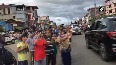 Watch People line up Imphal streets to welcome Mirabai Chanu