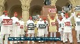 Samajwadi Party MLAs hold protest against UP govt ahead of assembly session.mp4