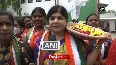 Telangana Mahila Congress holds protest, demands jobs for women