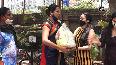 Actress Nikita Rawal distributes ration among transgender community