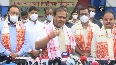 Assam CM drives road roller during programme Seized Drugs Disposal