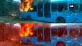 Watch Parked bus catches fire near Karnavati Club, no casualties reported
