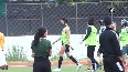 Dhoni, Ranveer Singh share light moment during football practice