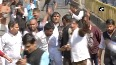 MP Police opens water cannons on protesting Congress workers