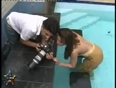 Sexy gauhar khan gives hot poses bare body in a swimming poo