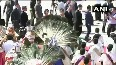 Chinese President Xi Jinping welcomed by folk dancers and musicians, upon his arrival at Chennai airport