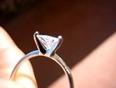 Real brilliance trillion cut diamond simulated solitair ring