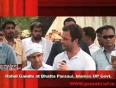 Rahul gandhi at bhatta parsaul, blames up govt.