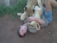 Girl fight with lion video