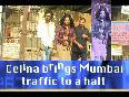 Celina Brings Mumbai Traffic To A Halt